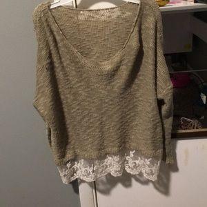 Tan stitching and white lace shirt